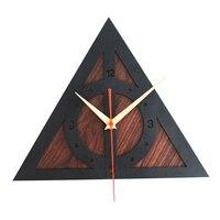 Modern Design Harry Potter The Deathly Retro Clocks Wooden Creative 3D Wall Clock Wall Watch Art Time Home Decor Silent 50CL039