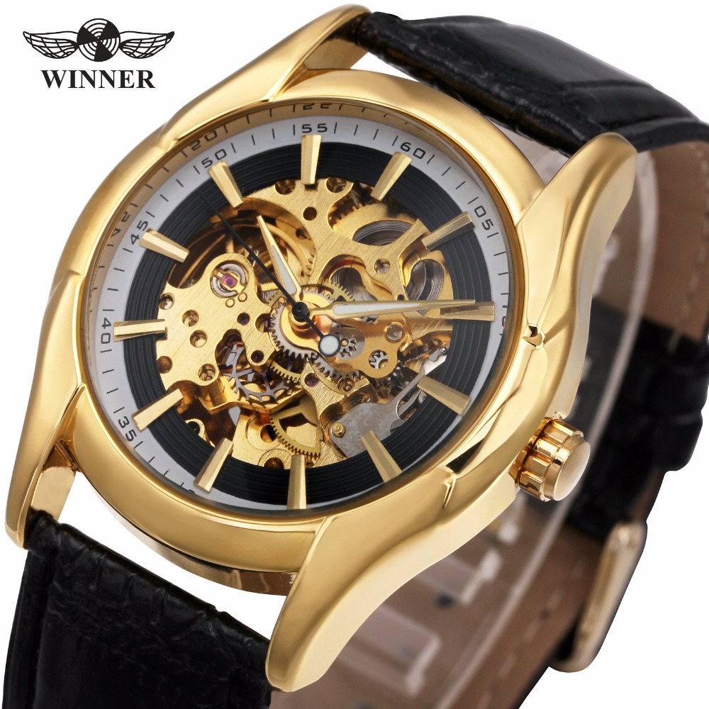2017 WINNER Dress Luxury Women's Automatic Mechanical Watch Black Leather Strap Skeleton Dial Unique Fashion Design+ GIFT BOX ultra luxury 2 3 5 modes german motor watch winder white color wooden black pu leater inside automatic watch winder