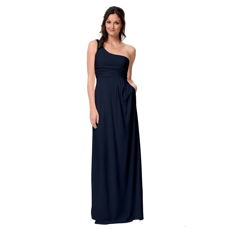 Navy blue one shoulder long bridesmaid dresses floor for Navy dresses for weddings