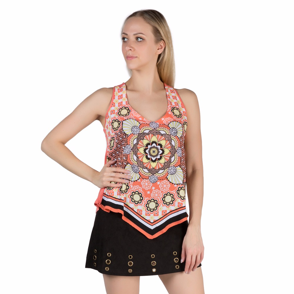 HEART SOUL Summer Women Sexy Tank Tops V Neck Sleeveless Patchwork Vintage Floral Print Casual Female Tops Women Clothing TO0048