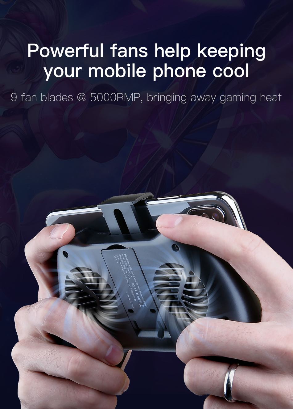 Baseus Mobile Phone Cooler For iPhone Xs Max Xr X Samsung S10 S9 Huawei P30  P20 Pro Gamepad Game Holder Stand Cooling Controller
