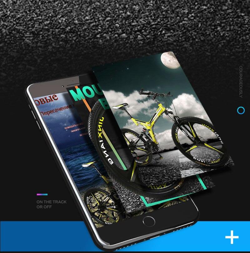 26 inches 21 Speed Folding Bicycle Male / Female / Student Mountain Bike Double Disc Brake Full Shockingproof Frame Brakes