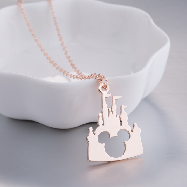 Daisies Cartoon Castle Mickey Head Pendant Necklace Castle Animal Jewelry For Women Necklaces Fashion Accessories
