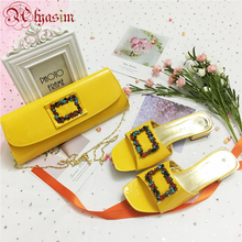 Yellow Color Italian Shoes and Bags To Match Shoes with Bag Set Decora