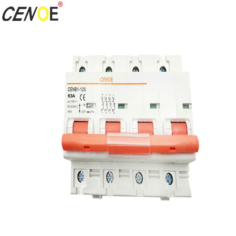 4P 1000V 125A 100A 80A 63A dc solar circuit breaker with 1000A breaking current for global big capacity solar power generation
