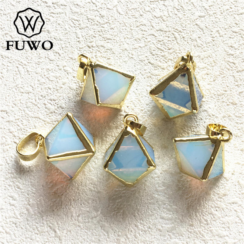 FUWO Carved Octahedral Opal Pendant With Gold Trimmed Edge Fashion Opal Charm Pendant For Necklace PD239 image