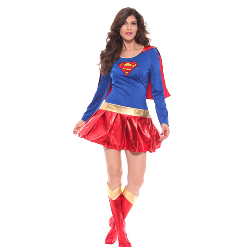 2017 Supergirl Cosplay Costumes Women Supergirl Costume Sexy Fancy Dress Halloween Xmas Female Superhero Costume Cosplay