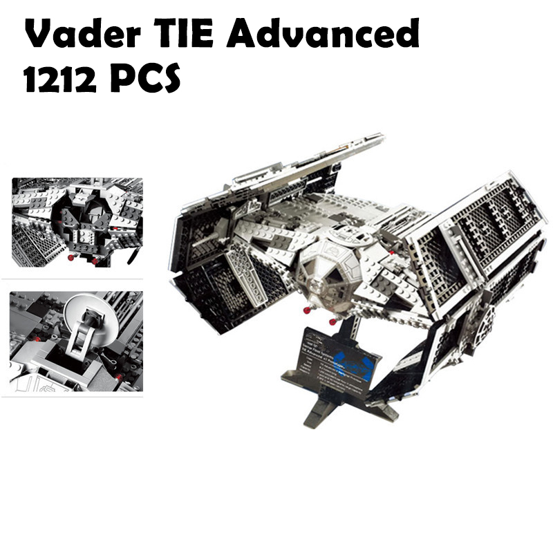 05055 1212Pcs Vader TIE advanced fighter aircraft Model Building Kit Blocks Bricks Compatible with lego 10175 Children dhl lepin 05055 star series military war the rogue one usc vader tie advanced fighter compatible 10175 building bricks block toy