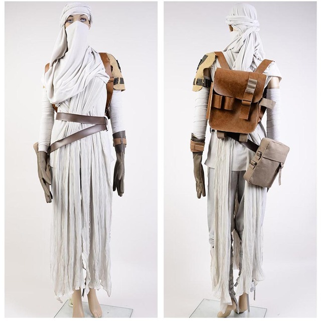 High Quality Star Wars 7:The Force Awakens Rey Uniform Moive Jedi Halloween Cosplay Costumes For Adult Women Custom Made