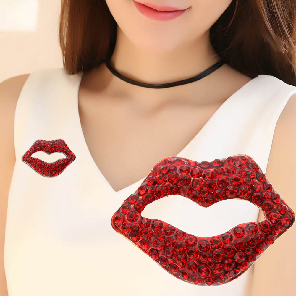 High Quality Red & Blue Crystal  Paved Lips and Lipstick Brooch Pins for Lady or Girls
