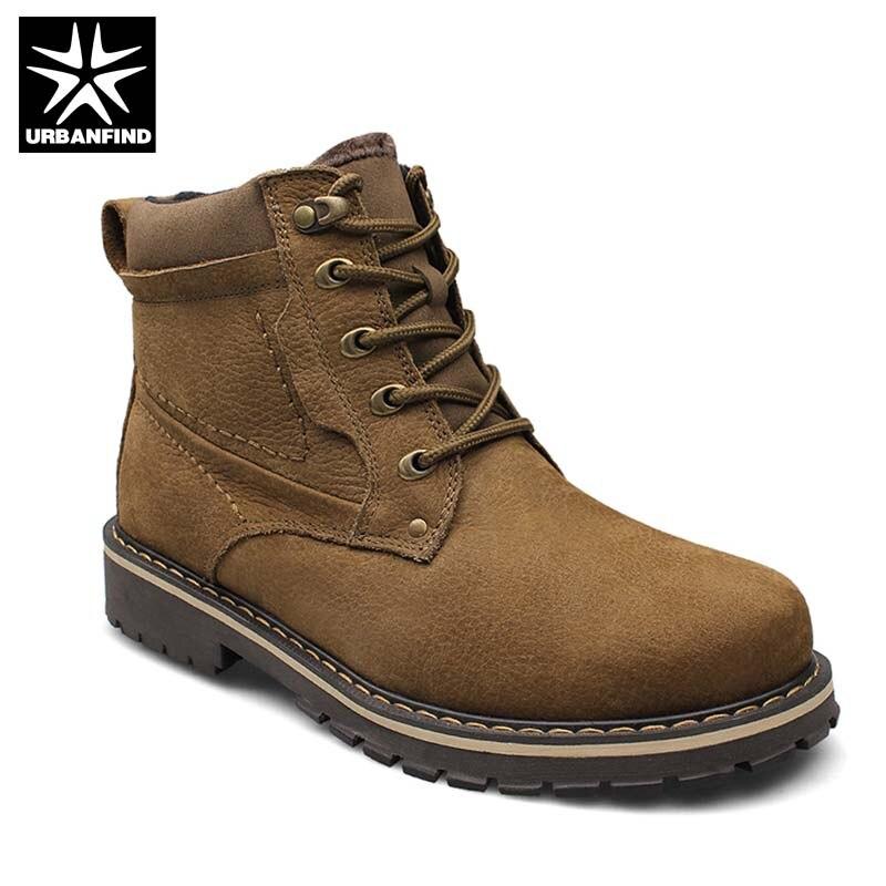 Качество Для мужчин ботинки из натуральной кожи Большие Размеры 37-52 осень-зима обувь с плюшевой подкладкой мужские теплые ботильоны