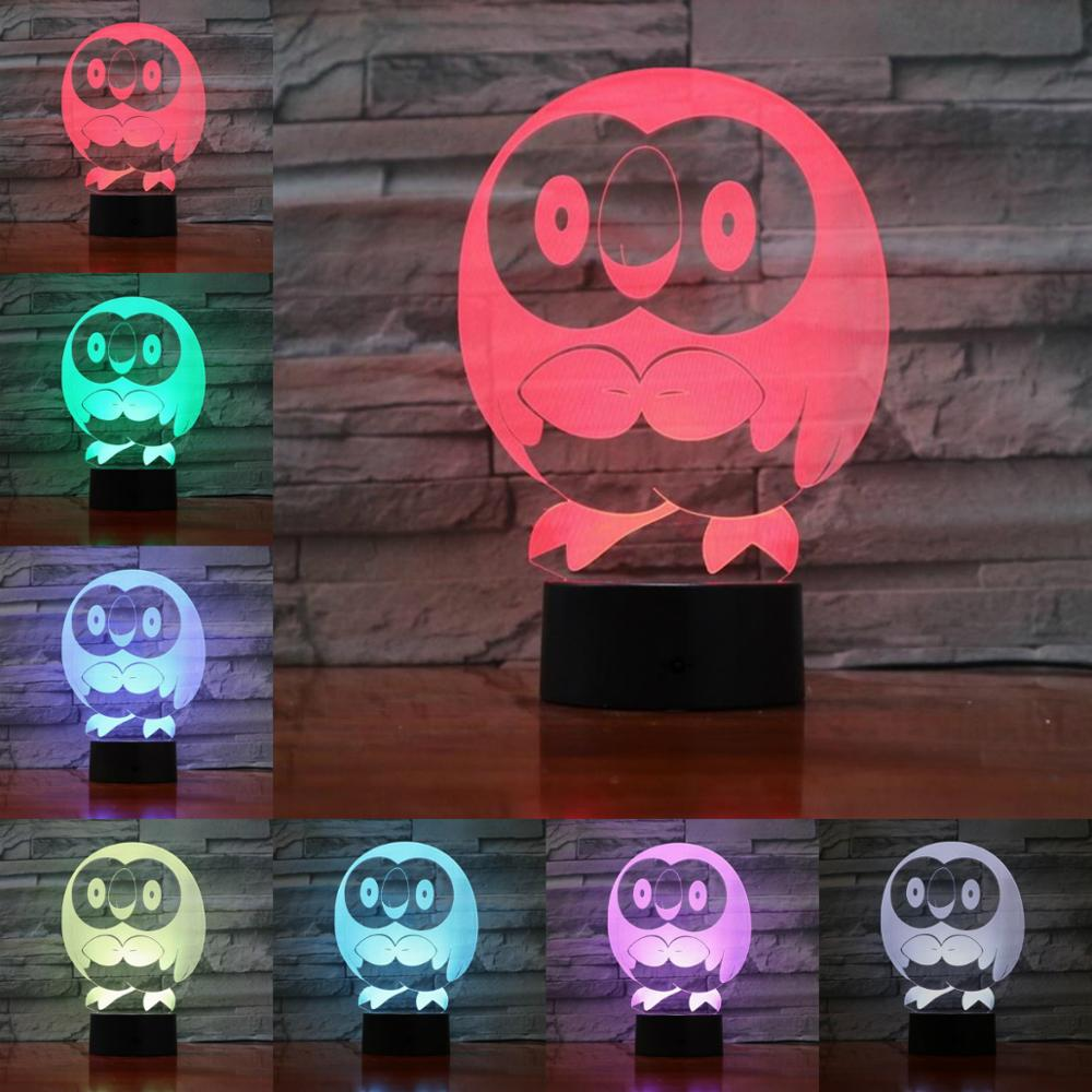 Cartoon 3D Lamp Pokemon Game Figures Rowlet Night Light LED Bulb Multicolor Children's Gift Lava Effect  Touch Remote Switch