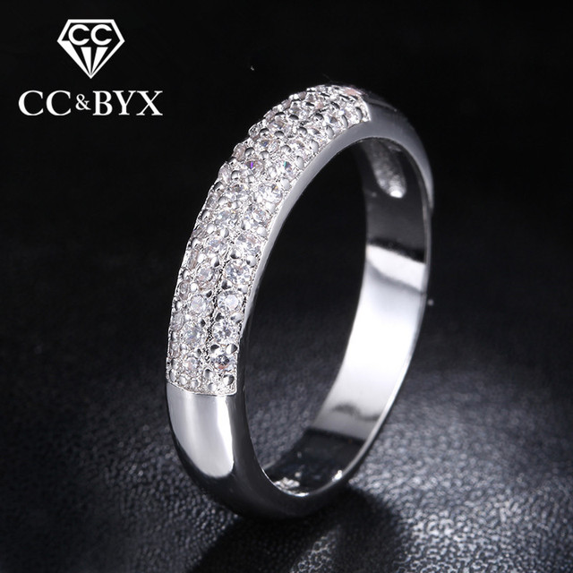 Fashion Jewelry Rings for Women Bijoux Row Drilling Line White Gold Color Party Rings with Austrian Crystal Best Gift CC037