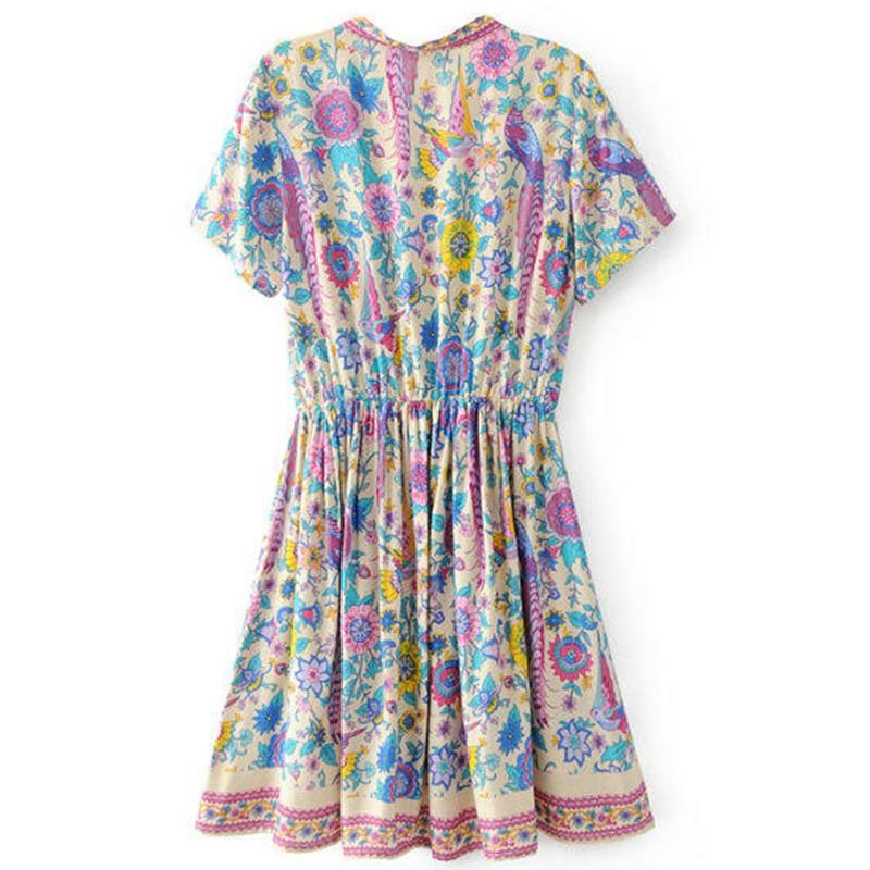 1ec1c37699 Boho Vintage Birds Floral Print Mini Dress Women 2018 New Fashion V Neck Short  Sleeve Summer Beach Dresses Casual Vestidos Mujer-in Dresses from Women's  ...