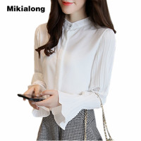 Mikialong Elegant Ladies Office Blouse 2017 Autumn Pleated Long Flare Sleeve Chiffon Shirt Female Tops Red
