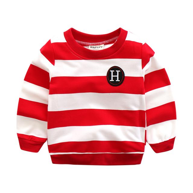Niño de la raya sudadera de manga larga sudaderas deportivas para niño superior del bebé del suéter ocasional prendas de vestir exteriores