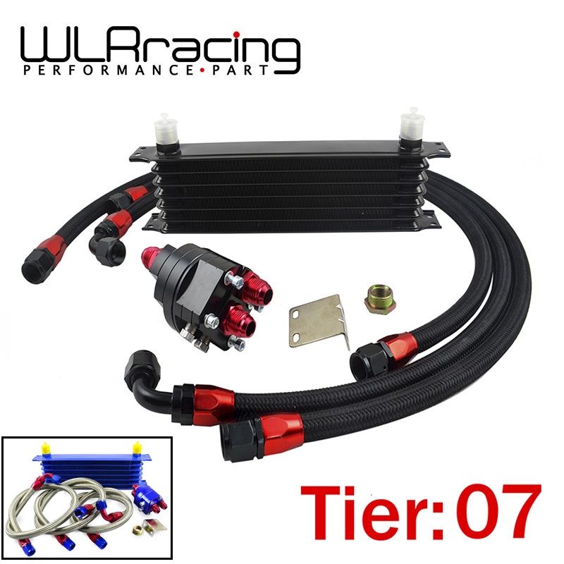 WLR RACING - Universal 7 Row 10AN Aluminum Engine Transmission An10 Oil Cooler Relocation Kit