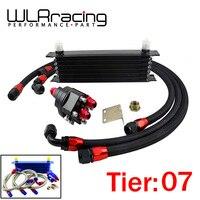 Wlr racing universal 7 fileira 10an transmissão do motor de alumínio an10 kit de recolocação do refrigerador de óleo|transmission oil cooler|oil relocation kit|engine oil cooler kit -