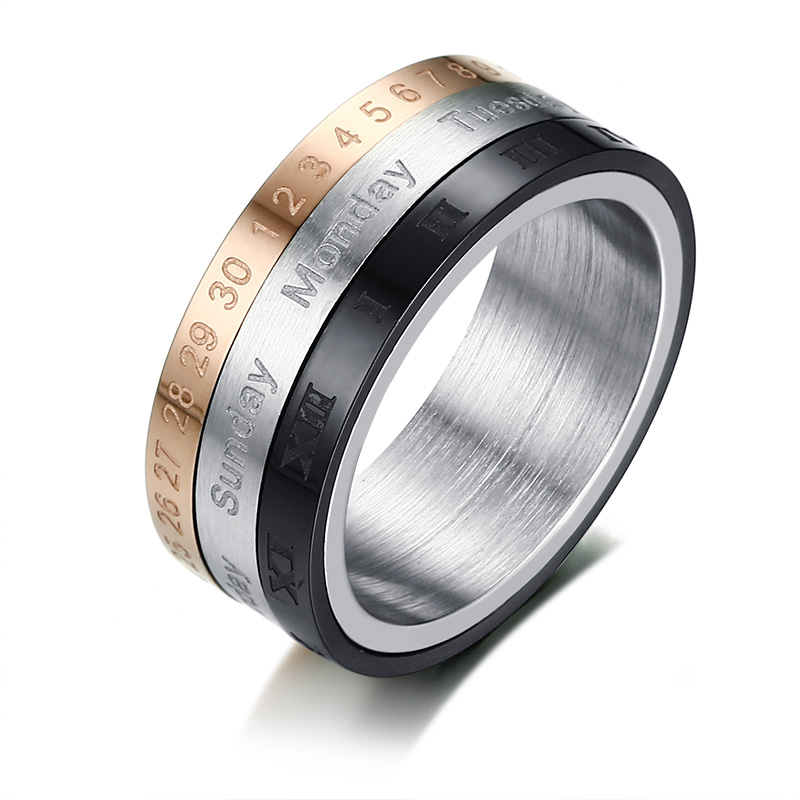 Rotatable 3 Part Roman Numerals Ring Men Jewelry Stainless Steel Cool Punk Spinner Male Bijoux Band with Date Time Calendar