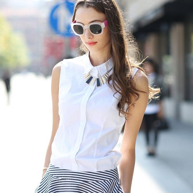 Veri Gude Summer Style Blusa Blanca Mujer Camisas de