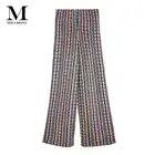 Micosoni/Трикотажные зеленые, черные, бежевые, оранжевые трикотажные штаны в полоску в итальянском стиле, свободные штаны со средней талией, Осе...