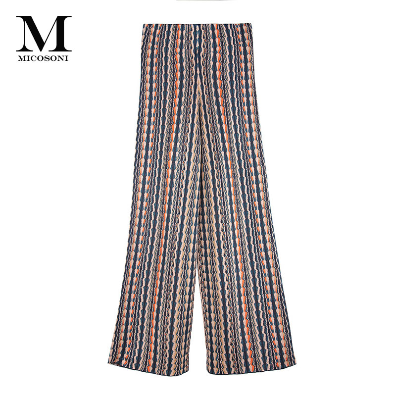 Micosoni Italian-style Knitted Green Black Beige Orange Wave Striped Knitted   Pants   Mid-waist   Wide     Leg     Pants   Autumn Winter 2018