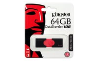 Kingston Technology DataTraveler 106, 64 GB, 3.0 (3.1 Gen 1), USB Type A connector, Slide, Black, Red
