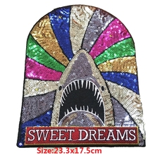 1pc Iron on Patches for Clothing Colorful Shark Sequin Patch SWEET DREAMES Beads Embroideried Fabric Badge Sticker DIY Apparel