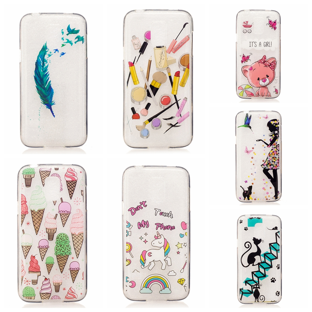 Cute Icecream feather cat dolphin panda patterns Soft tpu Phone Case Coque For Samsung S5 Mini phone case