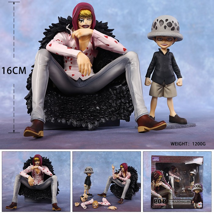 Free Shipping Anime One Piece Child Trafalgar Law & Corazon Boxed PVC Action Figure Decoration Collection Model Doll Toy Gift 2pcs set one piece trafalgar law corazon anime collectible action figure pvc toys for christmas gift with retail