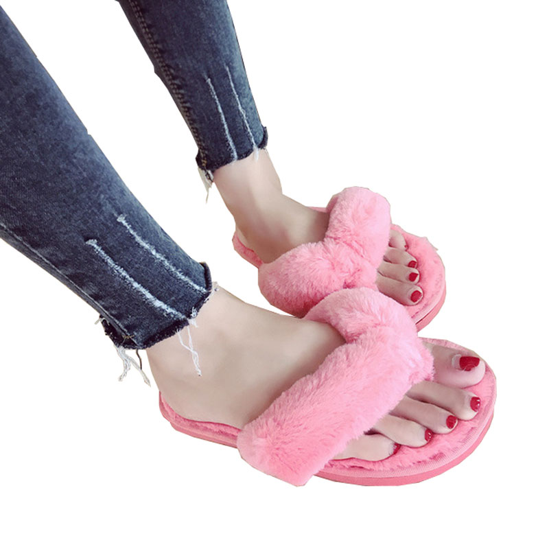 Fluffy Women Slippers Open Toe Thicken Antiskid Solid Color Flip Flops Plush Indoor Shoes Faux Fur Slides Flat Lady Shoes wholesale 5 woman foam open toe backless flip flops shoes slippers 1 pair
