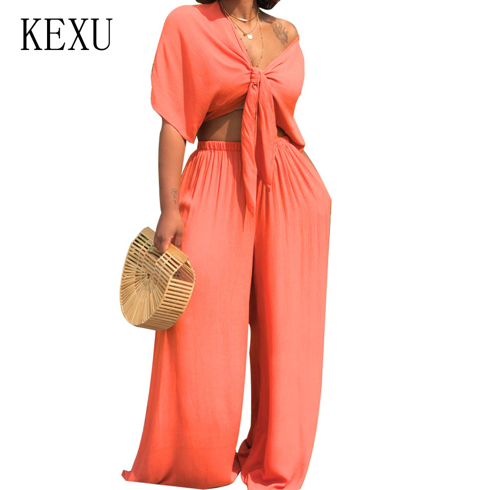 KEXU 2 Pieces Sets Sexy Deep V Neck Big Sleeve Tie up Top and Wide Leg Pants Women Casual Loose Jumpsuits Summer Salopette Femme in Jumpsuits from Women 39 s Clothing