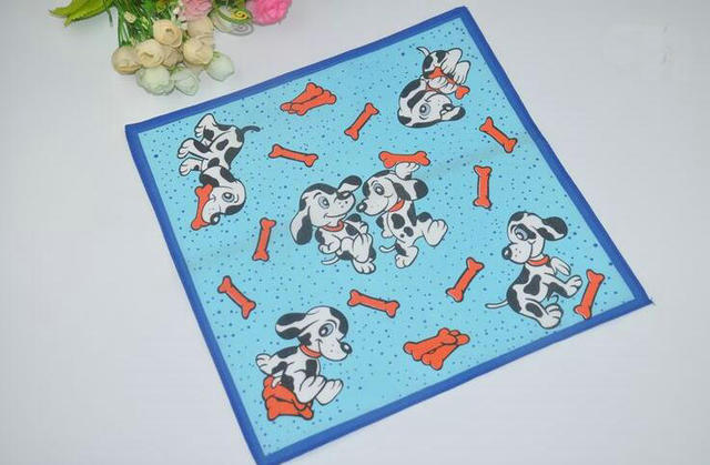 Freeshipping 30pcs 28*28cm Cartoon Child Cotton handkerchief Square Hanky Gift Handkerchiefs For Kids