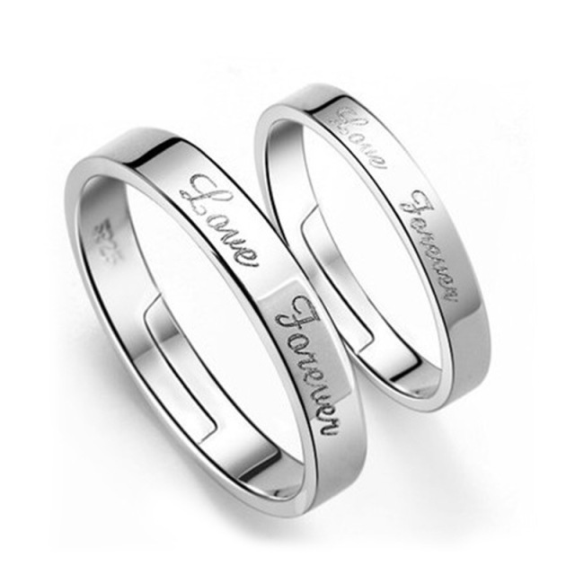 vintage couple rings silver wedding rings for men and women forever love letters design adjustable opening - Silver Wedding Rings