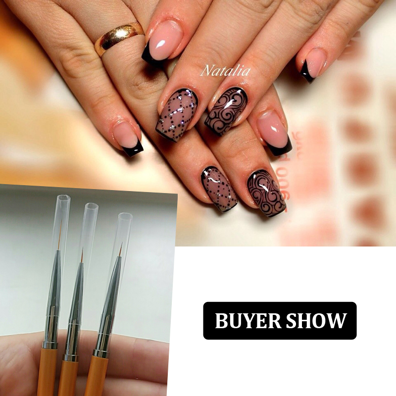 3pcs Set Gold Nail Art Lines Painting Pen Brush Professional High Quality Uv Gel Polish Tips 3d Design Manicure Drawing Tool Kit In Brushes From Beauty