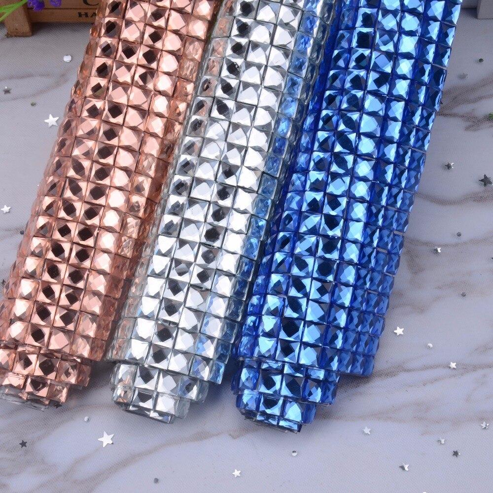 a1feeed0388710 Self adhesive 24x40cm bling Hot-fix glue mesh rhinestone crystal 10mm  square colorful stone for motif rhinestone sheet banding