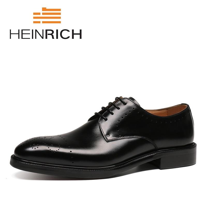 HEINRICH New Arrivals Male Shoes Lace-Up Footwear Ephemeral Brand Shoes 2018 British Men's Brogues Derby Black Brown Men Shoes стоимость