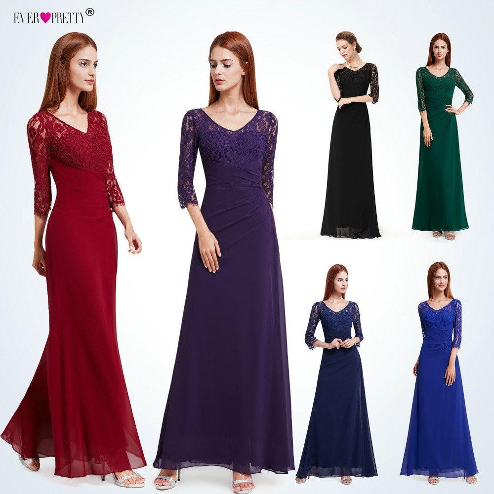 Пикантное, длиной до пола вечернее платье с О-образным вырезом Ever Pretty EP08861 Черное кружево официальный с короткими рукавами шифоновое платье ...