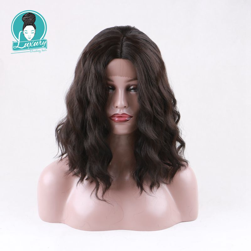 Luxury For Braiding 14inch Loose Wavy Black/Brown Color Kanekalon Heat Resistant Synthetic Glueless Lace Front Wig for Women