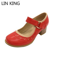 LIN KING New Mary Janes Square Heel Women Pumps Sweet Shallow Mouth Woman Square Heel Shoes
