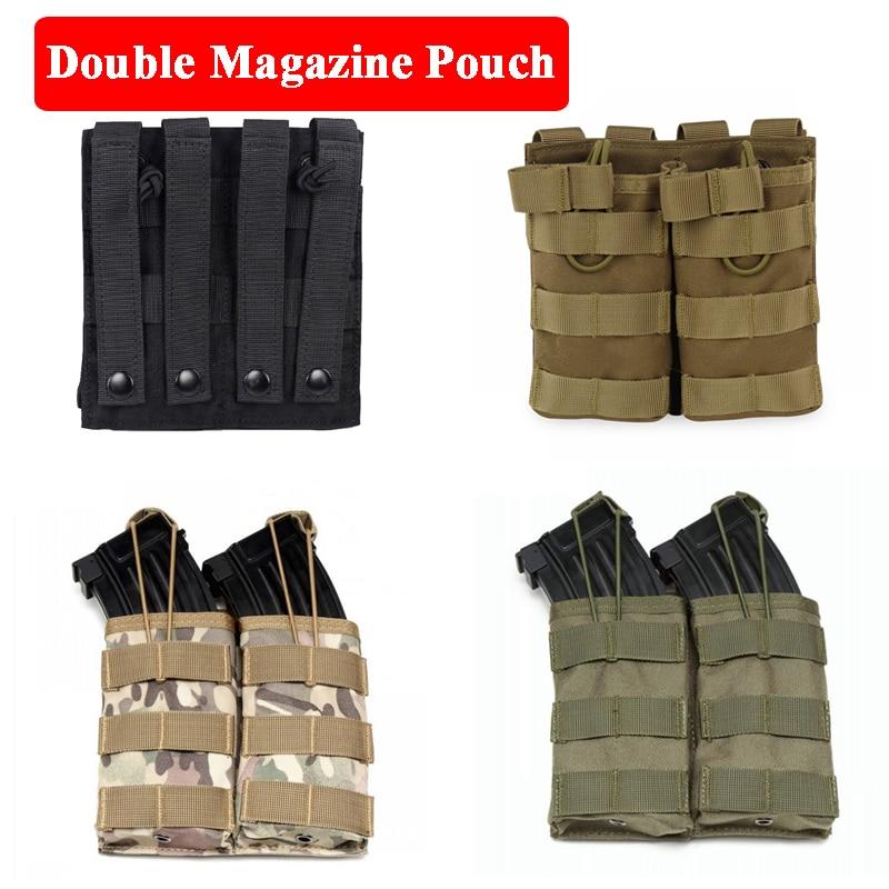 Open-Top Double Magazine Pouch M4 Cartridge Bag Tactical Military Gear Paintball War Game Vest Accessories Bags 15x15x3cm