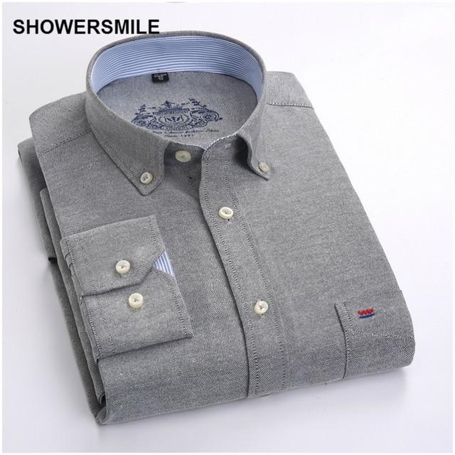 SHOWERSMILE Clothing Formal Male Button Down Shirts Autumn Men Shirt Long Sleeves Korean Fashion Slim Fit Mens Dress Shirt White 2