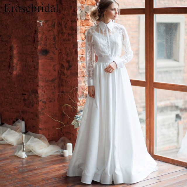 A Line Simple Wedding Dress Sleeves Vintage Off White Dress Spaghetti Strap Bridal  Gown With