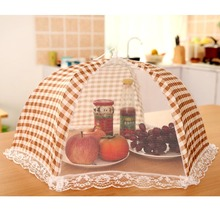 Kitchen Party Table Folded Food Storage Cover Folding Umbrella Mesh Lace Metal Frame