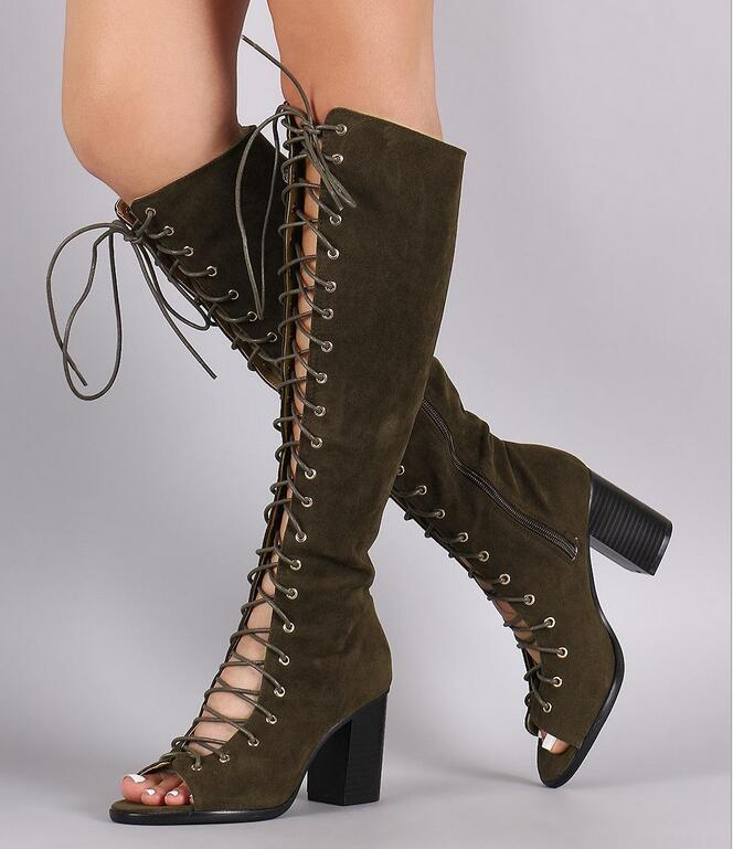 Women Boots Knee High Peep Toe Lace-up Square Heels Stretch Thigh Boots Cut-out Gladiator Army Green Leather Long Boots 2018Women Boots Knee High Peep Toe Lace-up Square Heels Stretch Thigh Boots Cut-out Gladiator Army Green Leather Long Boots 2018