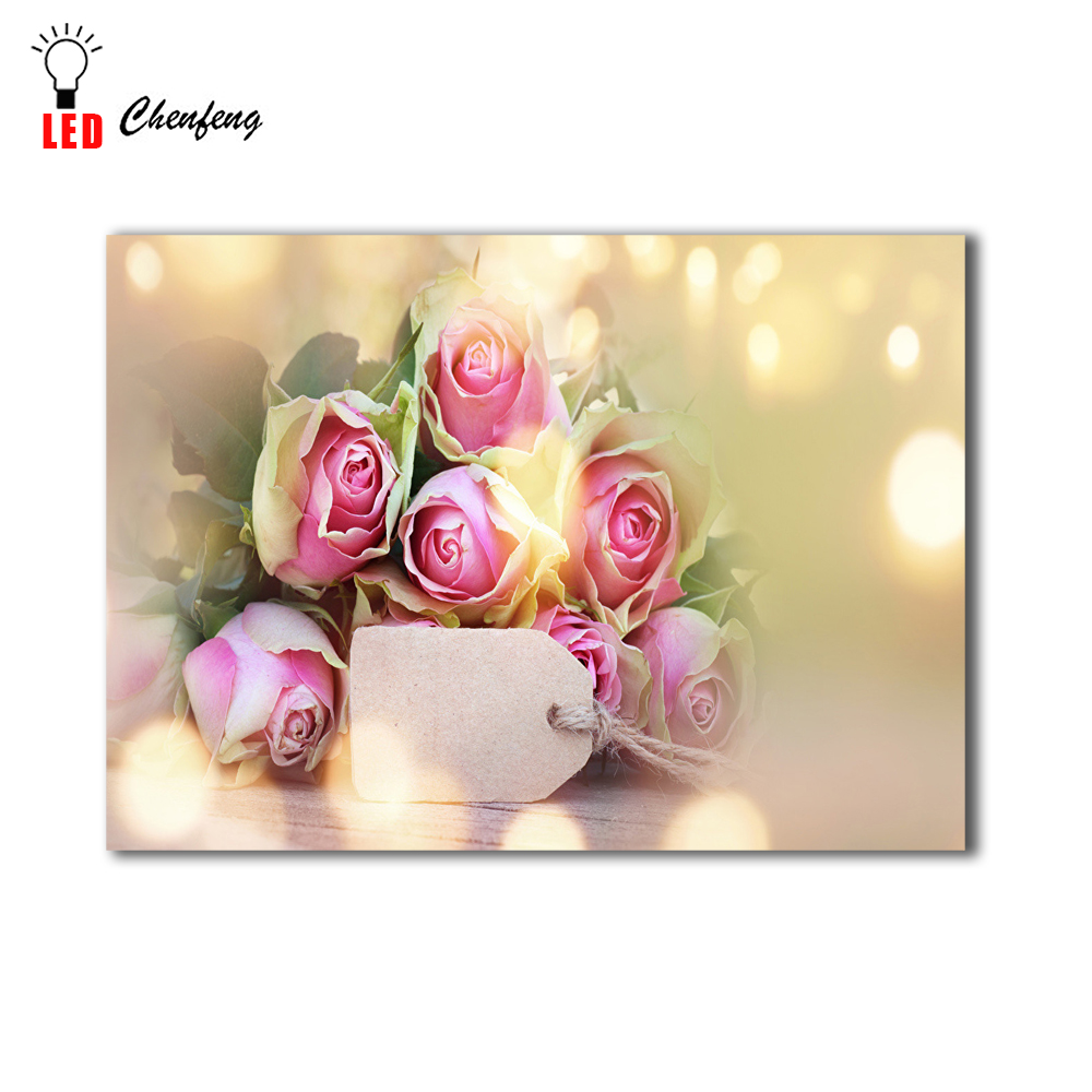 lighted up canvas printing roses love design led wall decor picture ...