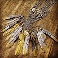 Goro 's Indian Vintage Multi Layer Necklace Big Feather Round sequins Charm Pendant necklace For Women The Best Present For Men