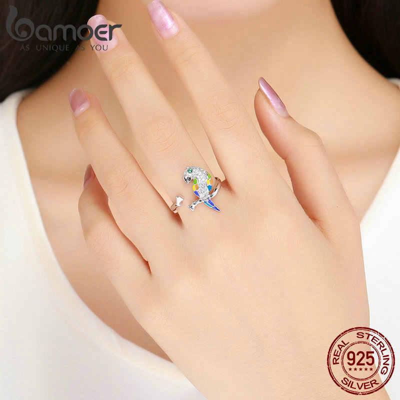 BAMOER ยุโรปนิ้วมือแหวนเคลือบ Parrot Ajustable แหวนสำหรับผู้หญิง 925 เงินสเตอร์ลิงเครื่องประดับแหวนค็อกเทล GAR008