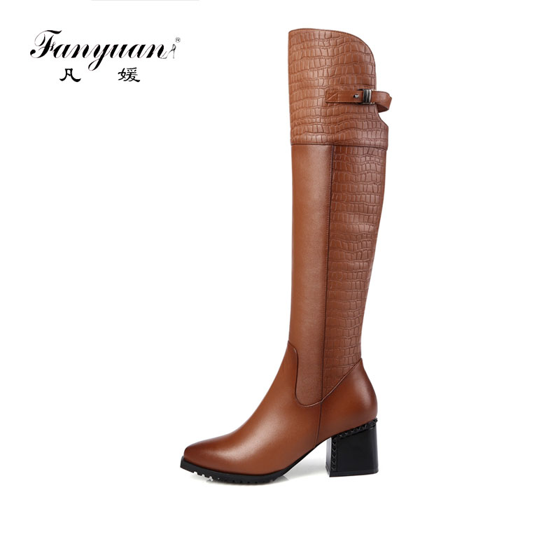 Fanyuan Solid Rivet High Heel Knee High Boots Punk Hasp Shoes Side Zipper Pointed Toe Boots Fashion Genuine Leather Riding boots-in Knee-High Boots from Shoes    1