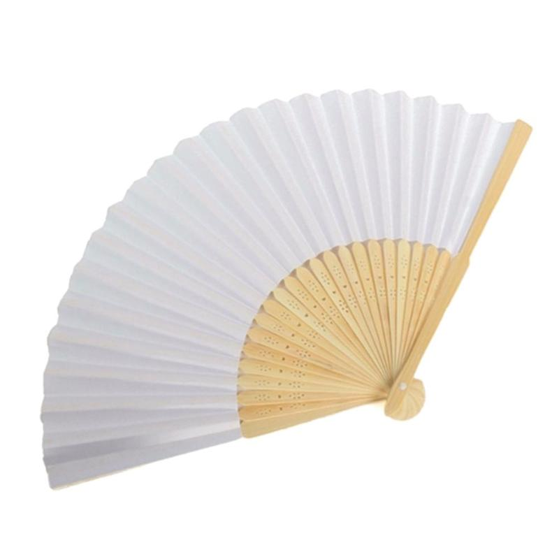 Blank White DIY Paper Bamboo Folding Fan For Hand Practice Calligraphy Painting Drawing Wedding Party Gift Ornaments